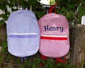 Monogrammed Seersucker Backpack