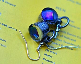 Healing Sanskrit Rainbow Magnet Earrings