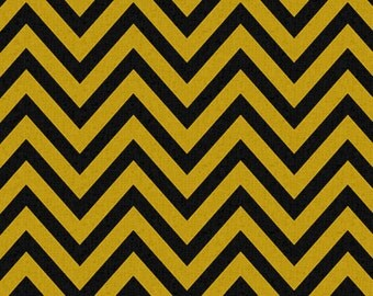 Premier Prints Zig Zag CHEVRON Fabric by the Yard. Black & Yellow Cotton Home Decor Fabric Yardage. Sewing Fabric Destash. SewGracious.