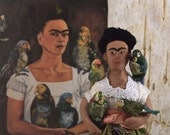 Frida Kahlo With Pet Parrots Doll Art Miniature