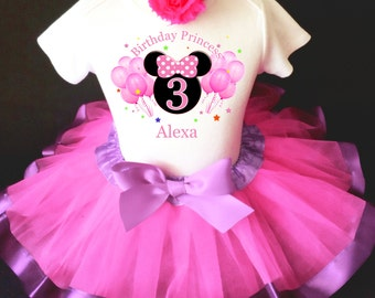 Minnie Mouse Hot Pink Balloons Celebration Lavender Purple 3rd Third Girl Birthday Tutu Outfit Custom Personalized Name Age Party Shirt Set