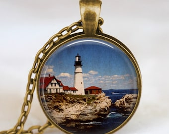 Vintage lighthouse pendant , lighthouse jewelry, nautical necklace , beach lighthouse necklace , nautical jewelry,art pendant
