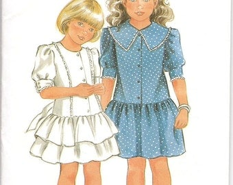 Vintage New Look 6116 Girls Dress Pattern Sizes 3-10