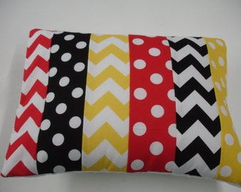 Strip Style Red Black Yellow Chevron and Dots For 12 X 16 Decor Pillow Sham READY TO SHIP On Sale