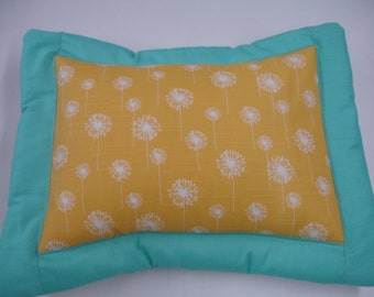 Yellow Dandelions with Teal Border Décor Pillow Sham 12 x 16 Travel Sized READY TO SHIP On Sale