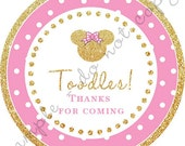Pink and Glitter Gold Minnie Mouse Inspired toodles Cupcake Topper / Thank You Tag  / various sizes