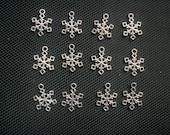10 Snowflake Charms Silver Tone Metal