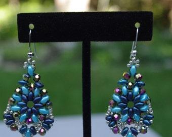Shades of Blue Bead Weave Earrings