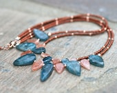 Kyanite and Oregon Sunstone Gemstone Arrow Drop, Copper and Rose Gold Beaded Handmade, Double Strand Necklace, MindyG Jewelry