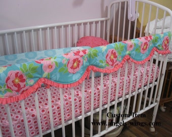 Scalloped Standard Regular Crib Rail Covers ... This is not a pre-made item but is a listing for sewing services only
