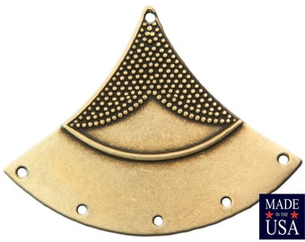 6 Hole Brass Ox Dapped Triangle Tribal Pendant Connector (4) mtl180E