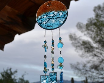 Ocean Blue Beach Windchime with Starfish