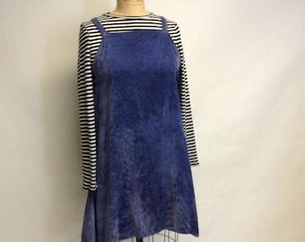 Handmade Dyed Blue Washed Velvet Swing Jumper