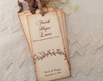 Wedding Favors, Wedding Bookmark Favors, Bookmark Favors, Set of 10 Bird Bookmarks Faith Hope Favors Rustic