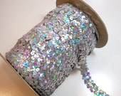 Silver Holographic Stretch Sequin Lace 3/4 Inch Wide x 3 yards, Silver Sequin Elastic