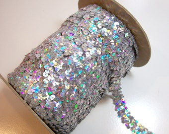 Silver Sequin Elastic, Silver Holographic Stretch Sequin Lace 3/4 Inch Wide x 3 yards