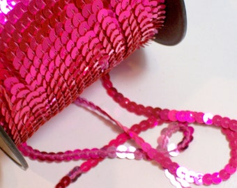 Pink Sequin Ribbon, Metallic Hot Pink Single Strand Sequin Trim 1/4 inch wide x 10 yards