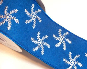 Blue Ribbon, Offray Blue Snow Wired Fabric Ribbon 4 inches wide x 10 yards, Full Bolt, Metallic Silver Snowflake Ribbon