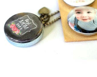 Gift for Mom, Mom Necklace, Locket, Holds a Picture, New MOM, Mom Locket Necklace, Custom with YOUR Child's Picture, Chalkboard Art Necklace