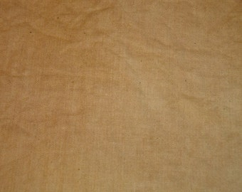 Muslin Fabric Hand Dyed   Light Camel Dyed Muslin   Primitive Muslin Fabric   Sampler Fabric   Hand Stitching Fabric   46 X 44