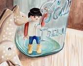 Playmobile figure with his horse, 'Help Me Out!'  ORIGINAL watercolor painting by Redstreake