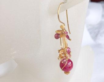Ruby - Citrine - Garnet - Pink Tourmaline Earrings