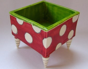 square pottery Serving Dish ceramic Red & Lime Green whimsical polka-dots, striped feet, snack bowl