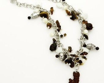 Cat Charm Necklace Found Object Handcrafted Amber Jasper Tiger Eye (Free US Shipping)