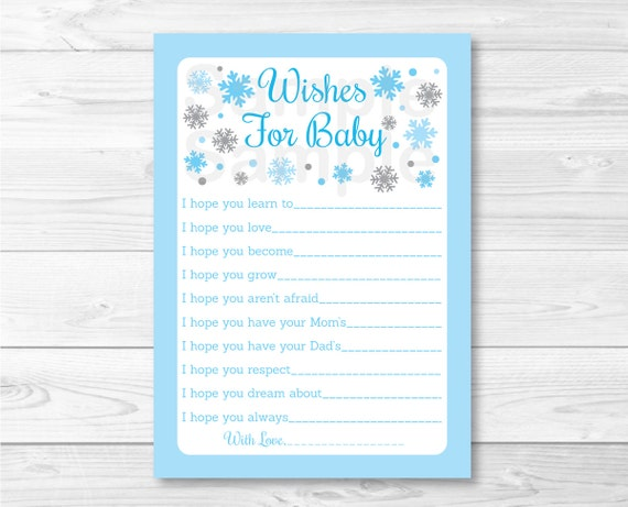 blue snowflake wishes for baby advice cards snowflake baby shower