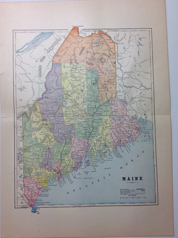 Color Map of Maine from 1897