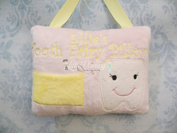 Minky Girl Personalized Tooth Fairy Pillow