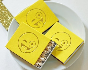Gold Foil Matches - Emoji - Wink - Yellow and Gold - Funny Gift - Hostess Gift - Party Favor - Set of 3