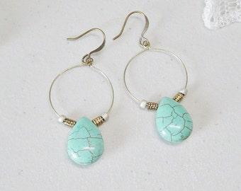 Turquoise Magnesite Hoop Earrings, Antique Brass Beaded Hoop Earrings, Teardrop Bead Dangle Earrings, Turquoise Earrings, Boho, Southwestern