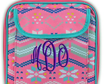 Personalized Lunch Bag Fairisle Monogrammed Girls School Snack Box
