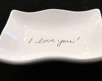 """3"""" x 4"""" Wavy Dish- Personalized with your own note, saying, etc."""