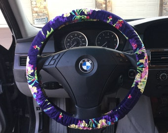 Purple Floral Steering Wheel Cover