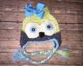 Owl Earflap Hat - All Sizesl - Customize Your Colors