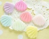 7 pcs Glitter Pastel Shell Cabochon (21mm24mm) Solid DR480