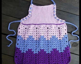 Childs Kids Crochet Granny Ripple Apron, Multisized, Adjustable Strap, Ready to ship