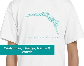 Personalized Female Girl Swimmer T Shirt,  T-Shirt, Tee