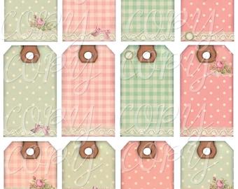 Instant Download  - Polka Dots Checks and lace  Hang Tags-   Digital Download - Printable  Digital Collage Sheet