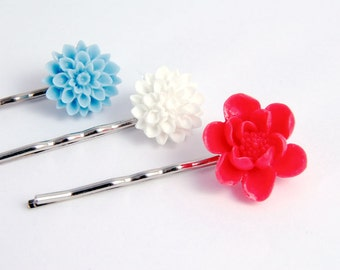 Flower Hair Pins Red White Turquoise Blue Lotus Garden  Accessory for Nautical Sailor Girl