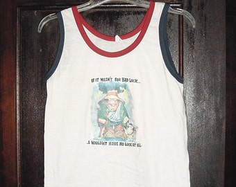 Vintage 70s Bad Luck Transfer Tank Top Large