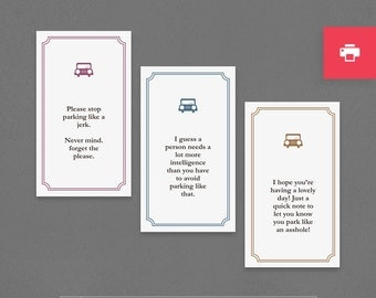 "Funny Printable Mini Cards. Instant Digital Download. Parking Notes, Snarky, Sarcastic, Friend, Man, Woman. ""Like An Idiot Jerk"" (PLP01)"