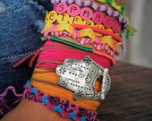 Silk Wrap Bracelet, Yoga Bracelet, Yoga Jewelry, Yoga Wrap Bracelet, Yoga Silk Wrap Bracelet, Yoga Sterling Silver Hamsa Hand Yoga Bracelet