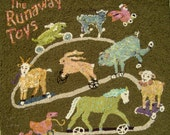 "The Runaway Toys  30"" x 30"" Hooked rug"