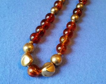 Vintage Faux Amber and Gold Beaded Necklace, long necklace vintage necklace, vintage plastic beads