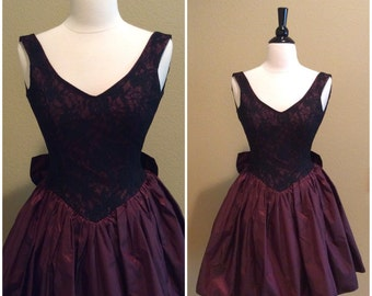 Vintage 90s Maroon Taffeta Party Dress-Size 1/XXS