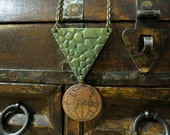 World Necklace, Geometric Necklace, Triangle, Patina, Copper Pendant, World Pendant, Textured, Long Necklace, Green, Layering Necklace