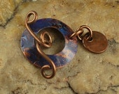 Oxidized Copper, Blue Metal Toggle, Rustic #776 by CC Design